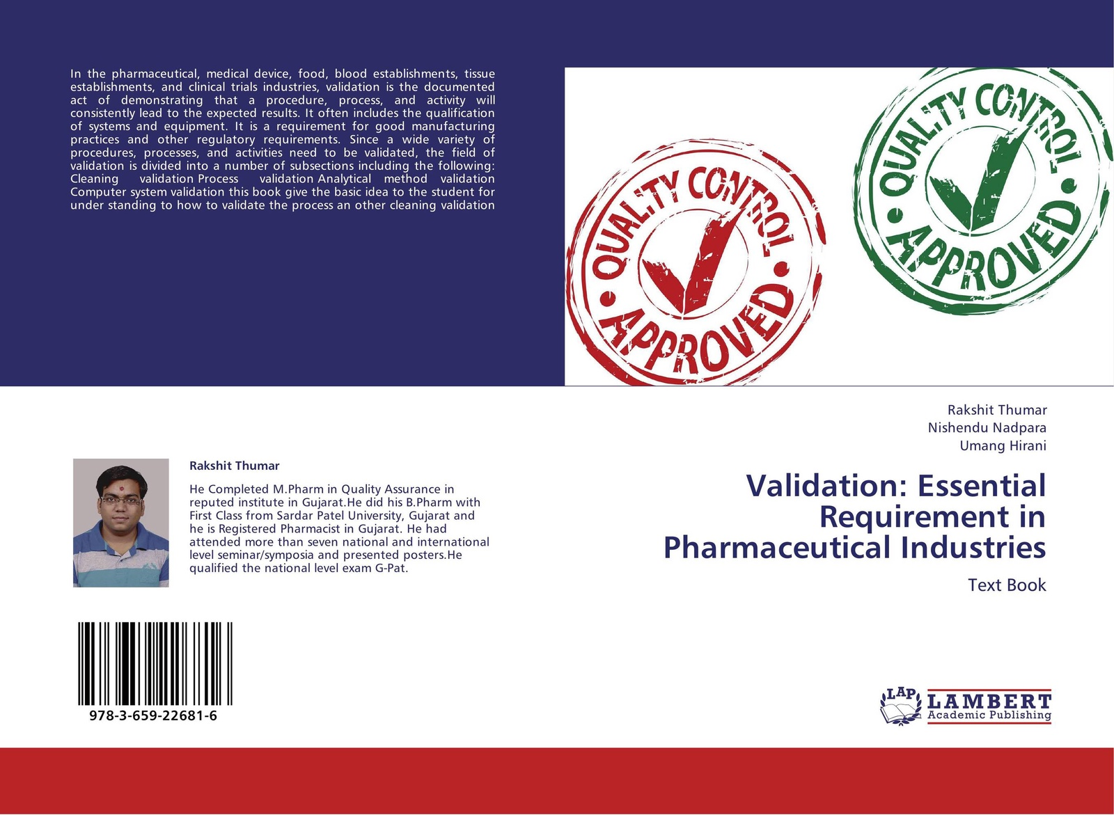 купить Rakshit Thumar,Nishendu Nadpara and Umang Hirani Validation: Essential Requirement in Pharmaceutical Industries по цене 3212 рублей