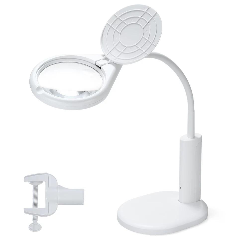 Лупа настольная подсветкой на гибком штативе для рукоделия, шитья, чтения 2.3х, 6x, 108 мм (8 LED) лупа для чтения veber 2 5x 4x 75x43 мм черная с подсветкой g188