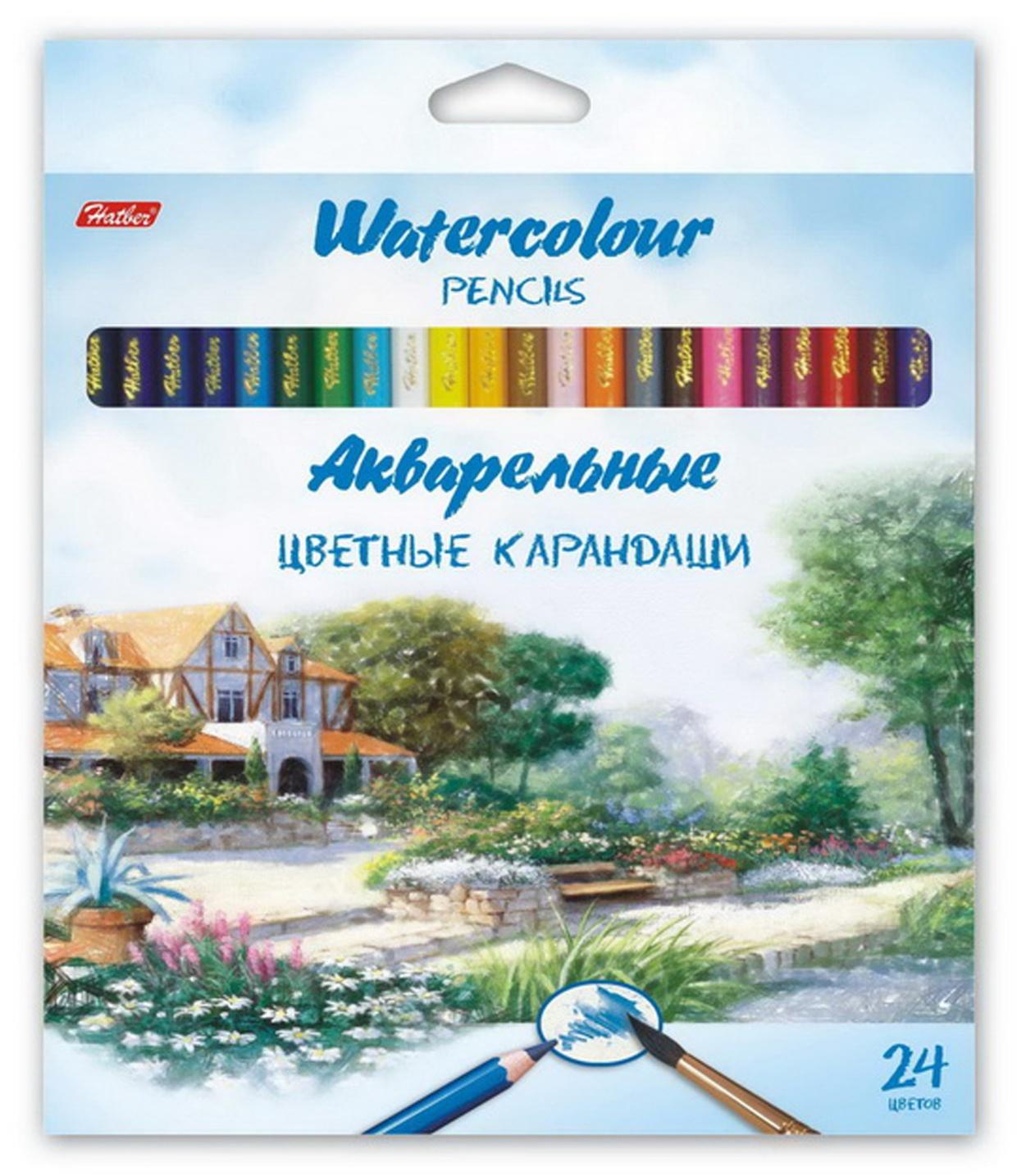 HATBER Набор акварельных цветных карандашей Пейзаж, 24 цвета. набор карандашей акварельных mondeluz 24 цв