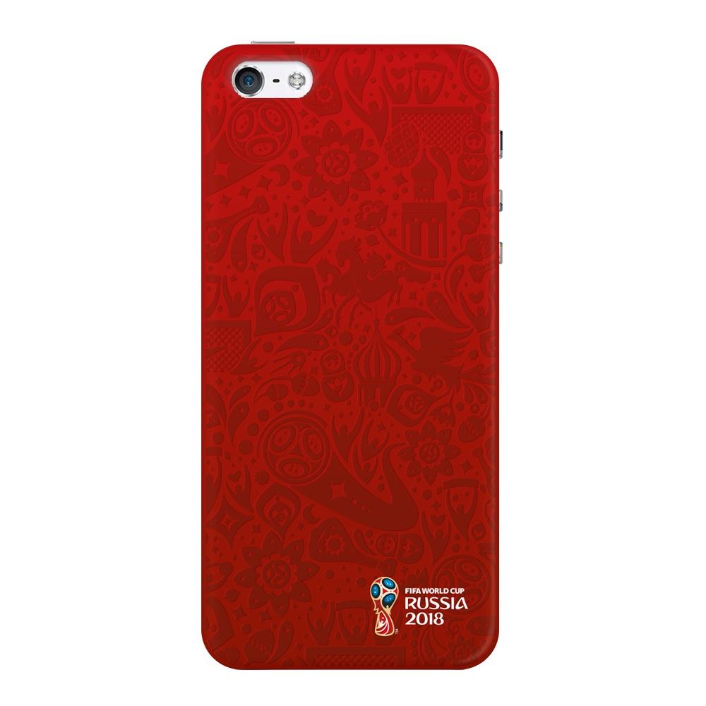 Чехол для Apple iPhone 5/5S/SE, FIFA Official Pattern red, Deppa цена и фото