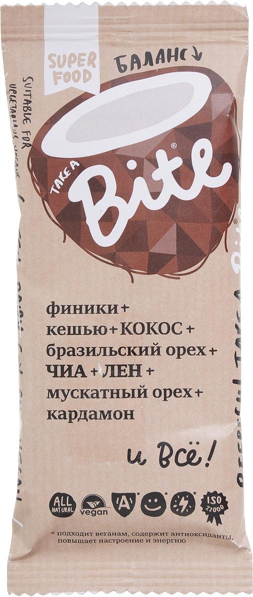 Take A Bite Кокос-Бразильский орех Баланс батончик фруктово-ореховый, 45 г батончик take a bite фруктово ореховый арахис банан спорт 30 г