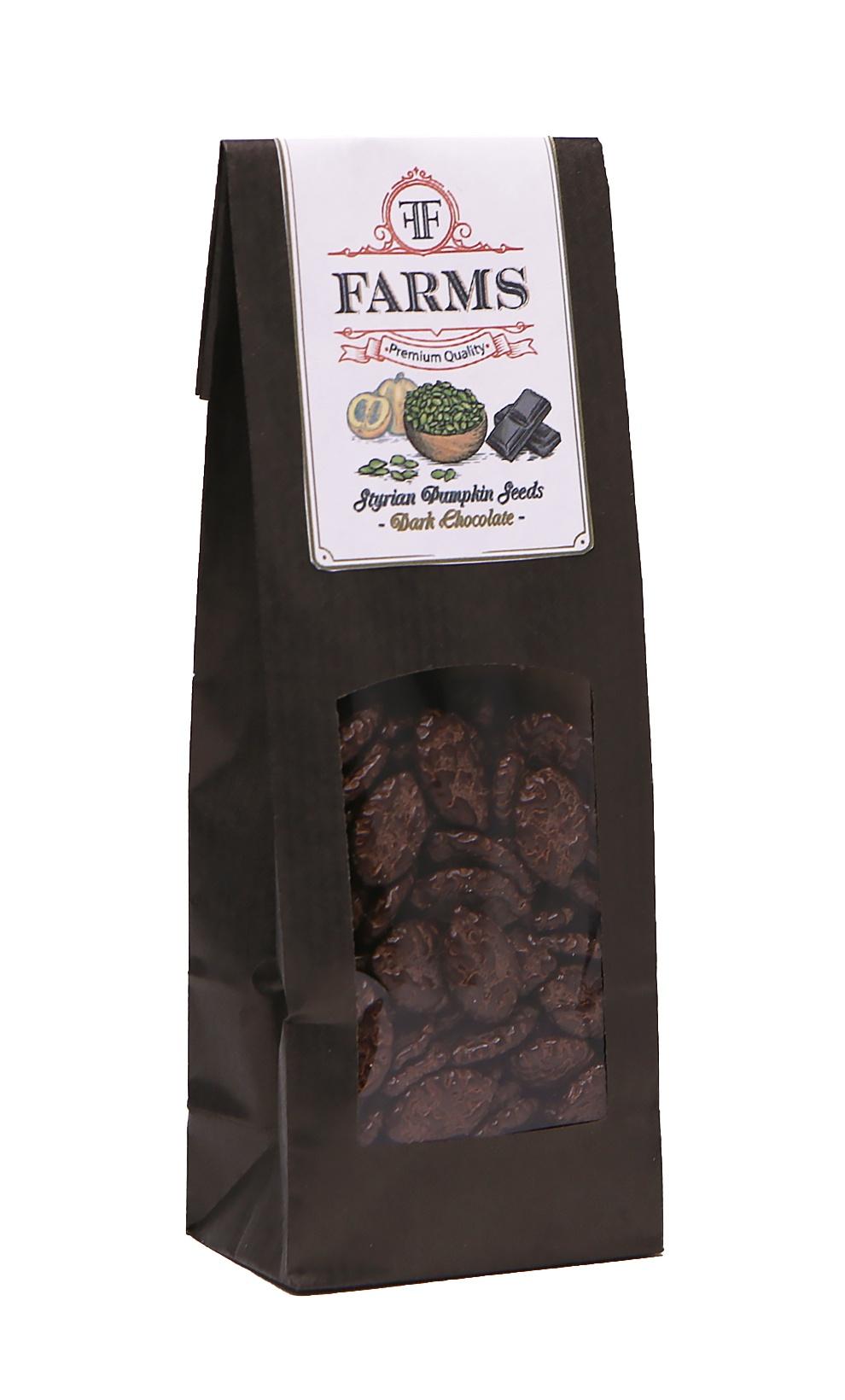 Штирийские тыквенные семечки в глазури австрийский черный шоколад FF Farms, 100 гр