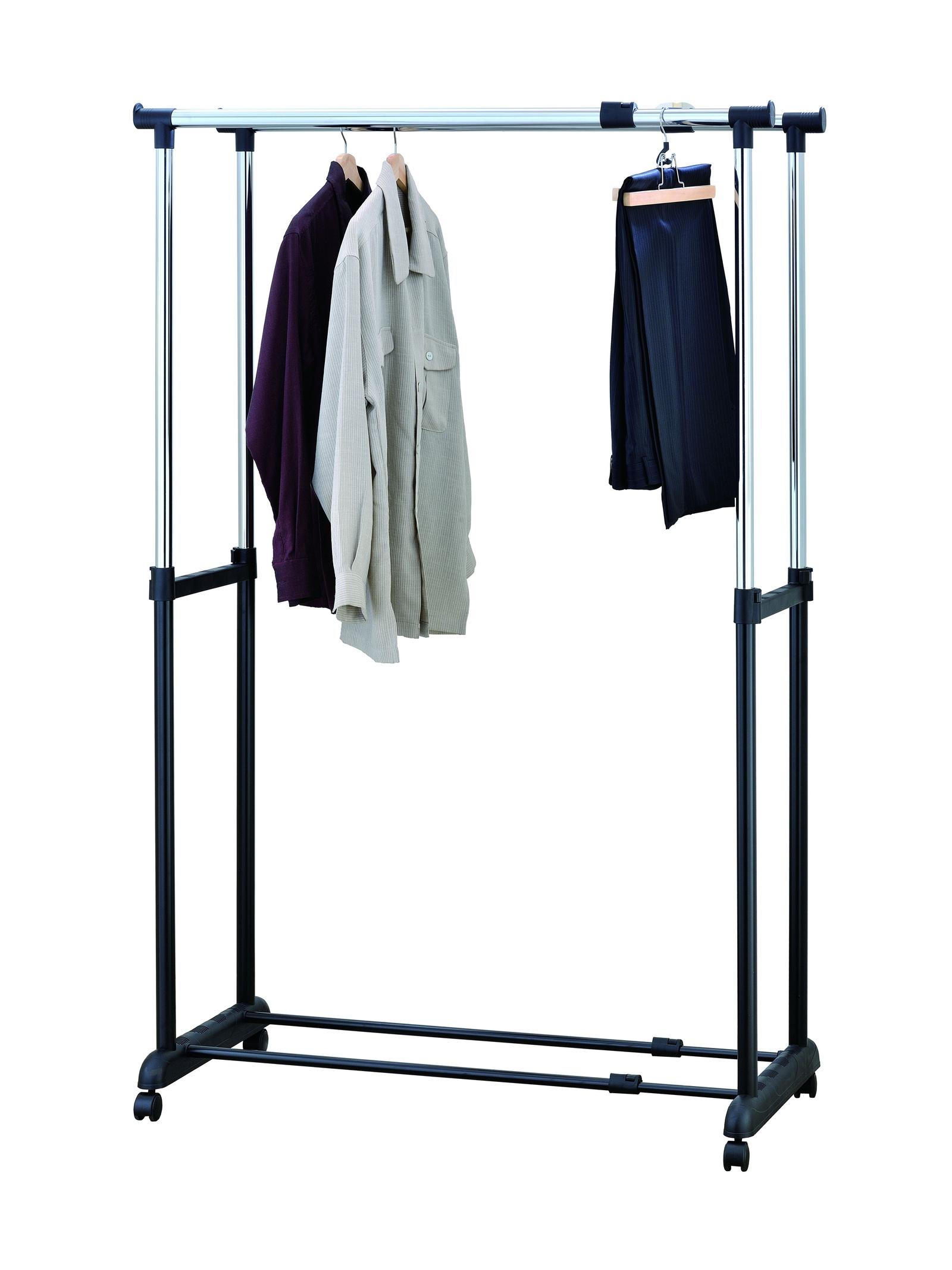 цена Стойка для одежды UniStor Caroline двойная c регулируемой шириной и высотой онлайн в 2017 году