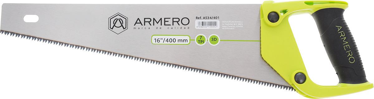 Ножовка по дереву Armero, крупный зуб, 400 мм ножовка по сырой древесине runex green 400 мм прямой крупный зуб
