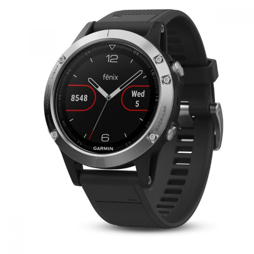 все цены на Умные часы Garmin Fenix 5 серебристые с черным ремешком онлайн