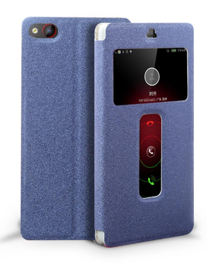 Чехол-книжка MyPads для ZTE Nubia Z9 Max с окошком для входящих вызовов и свайпом синий цена и фото