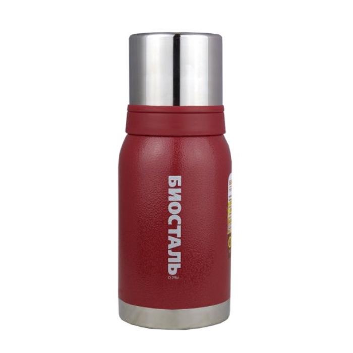 Термос БИОСТАЛЬ-ОХОТА, 2 чашки, красный, 0.75 л.