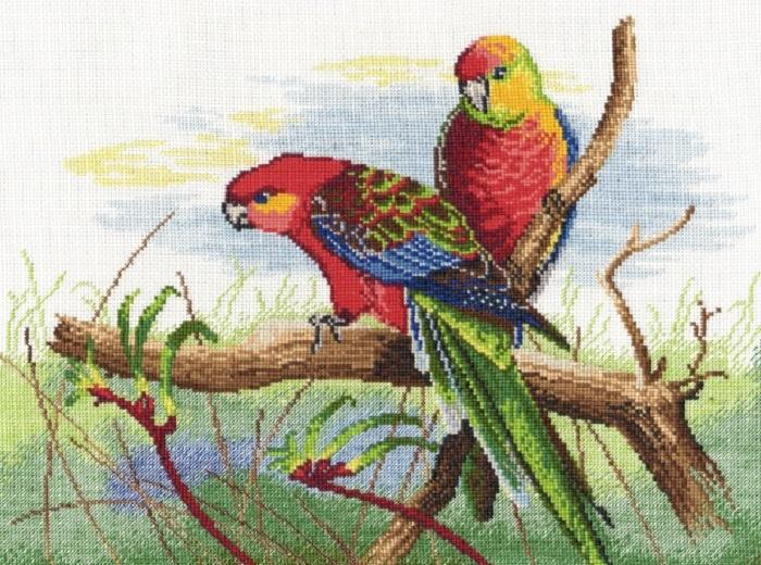 Набор для вышивания Овен Попугаи набор мулине 8шт 8м bestex