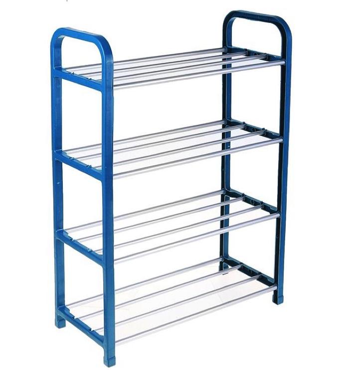 лучшая цена Экстон, полка для обуви, тумба для обуви, этажерка 4 яруса 42х19х60 см , синий цвет
