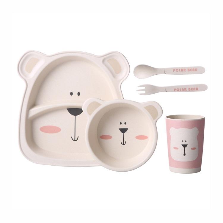 Детский столовый набор, тарелка, миска, ложка, вилка, стакан, цвет бежевый, 24х22х10 см