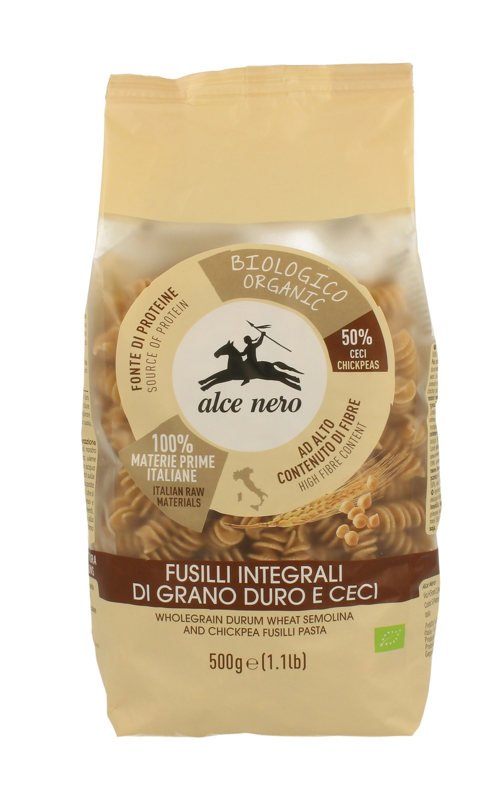 Alce Nero БИО Макаронные изделия ФУЗИЛЛИ из цельной пшеницы и нута, полимерный пакет 500 г