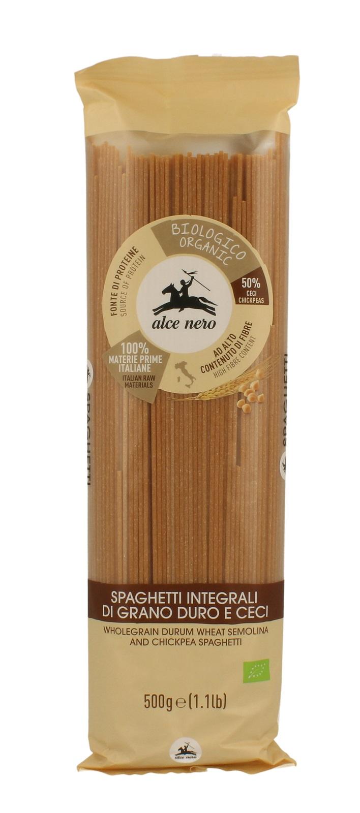 Alce Nero БИО Макаронные изделия СПАГЕТТИ из цельной пшеницы и нута, полимерный пакет 500 г
