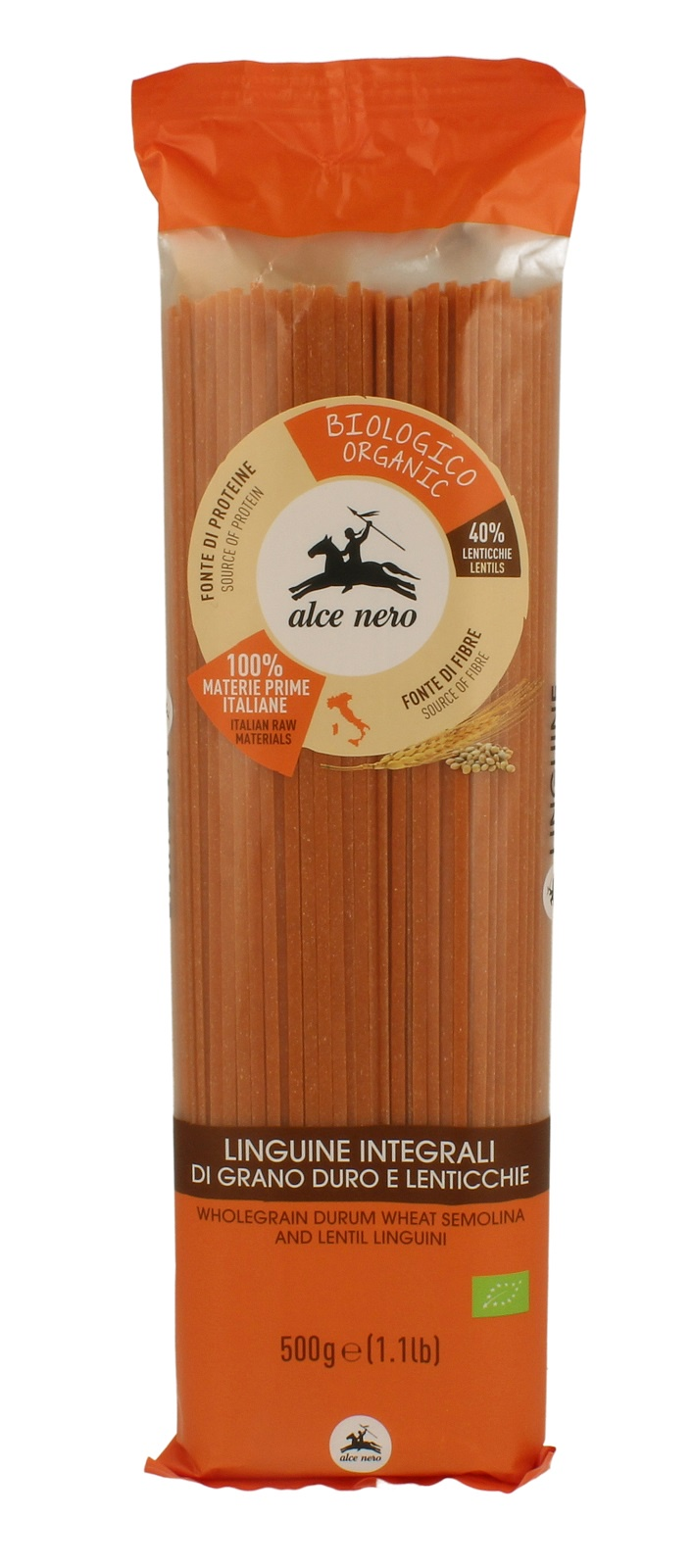Alce Nero БИО Макаронные изделия ЛИНГВИНИ из цельной пшеницы и чечевицы, полимерный пакет 500 г