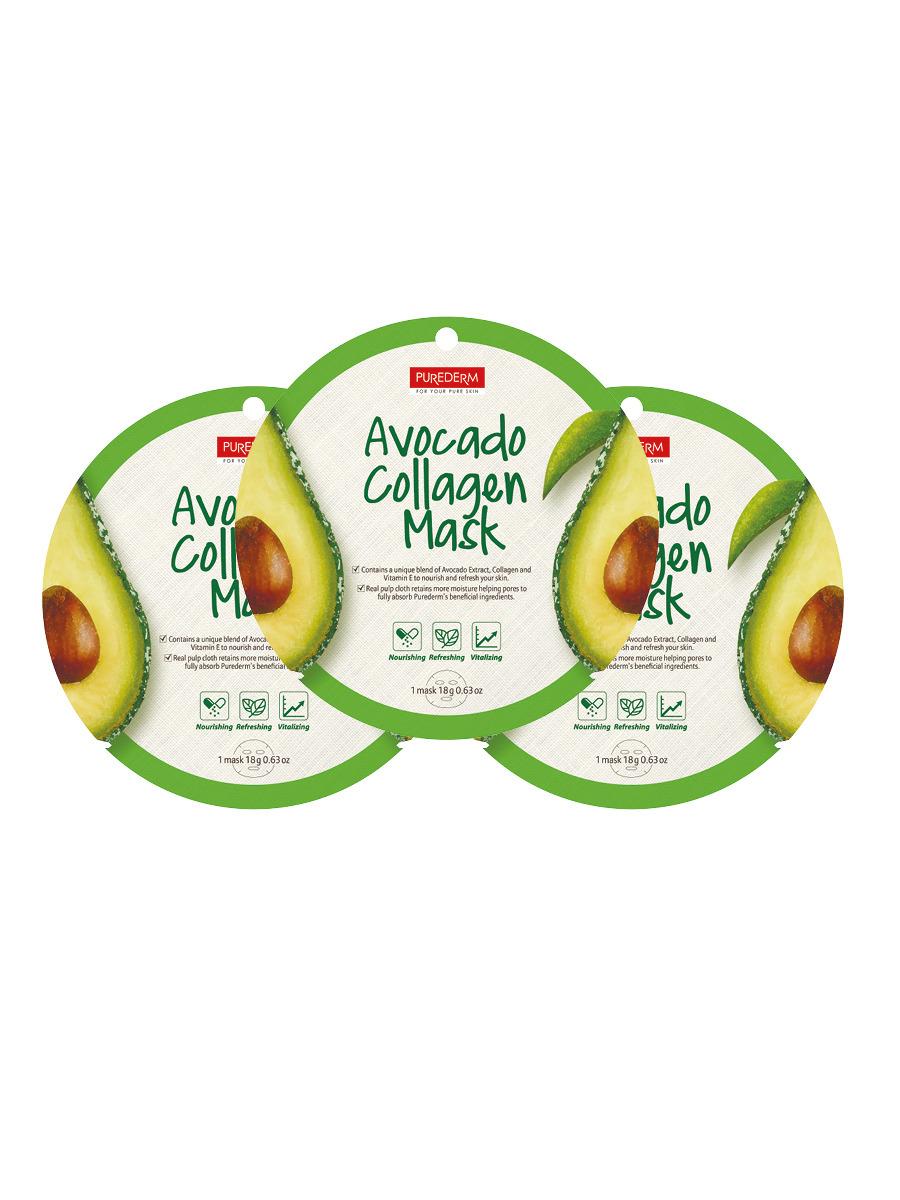 Коллагеновая маска Purederm с экстрактом плодов авокадо, 18 г х 3 шт коллагеновая маска purederm с экстрактом кофе 18 г х 3 шт