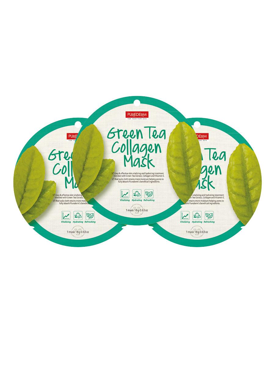 Коллагеновая маска Purederm регенерирующая, с экстрактом зеленого чая, 18 г х 3 шт коллагеновая маска purederm с экстрактом кофе 18 г х 3 шт