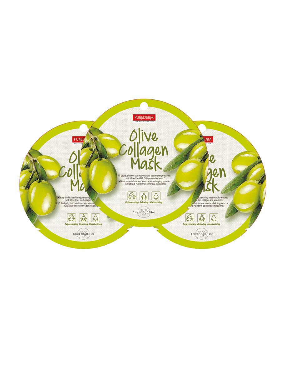 Коллагеновая маска Purederm с экстрактом плодов оливы, 18 г х 3 шт коллагеновая маска purederm с экстрактом кофе 18 г х 3 шт