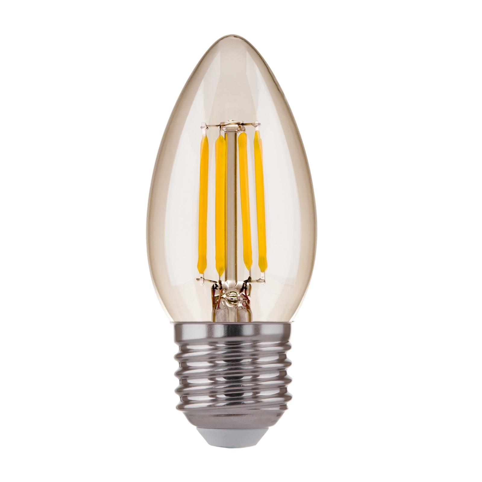 Лампочка Elektrostandard светодиодная Свеча CD F 7W 3300K E27, Теплый свет 7 Вт, Светодиодная светодиодная лампа kosmos теплый свет цоколь e27 7w 220v lksm led7wr63e2730