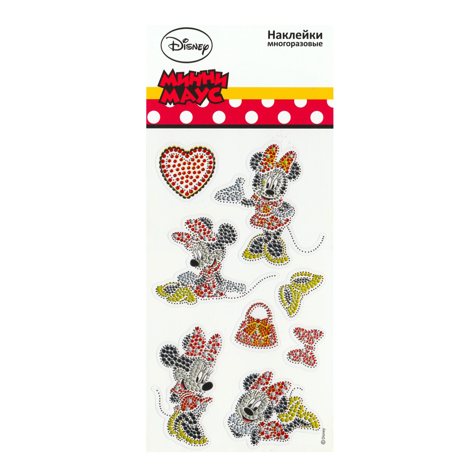 Набор наклеек Disney Стразы многоразовые Минни Маус цена