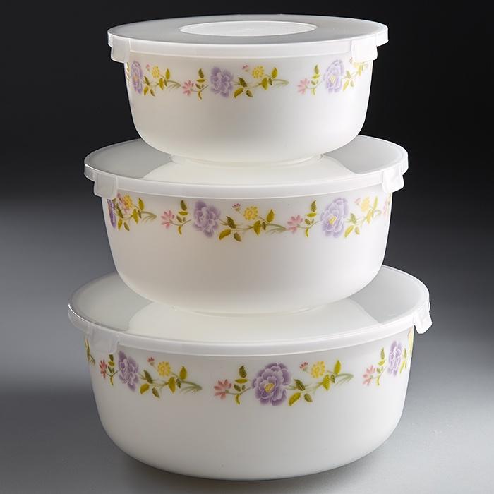 """Набор из 3 салатников с крышками Teropal """"Виолетта"""""""
