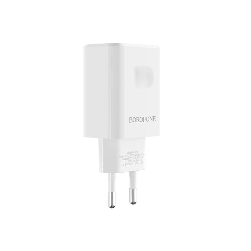Сетевое зарядное устройство Borofone BA32A Bright power widely compatible charger set (Micro 7pin) (EU) White цена в Москве и Питере