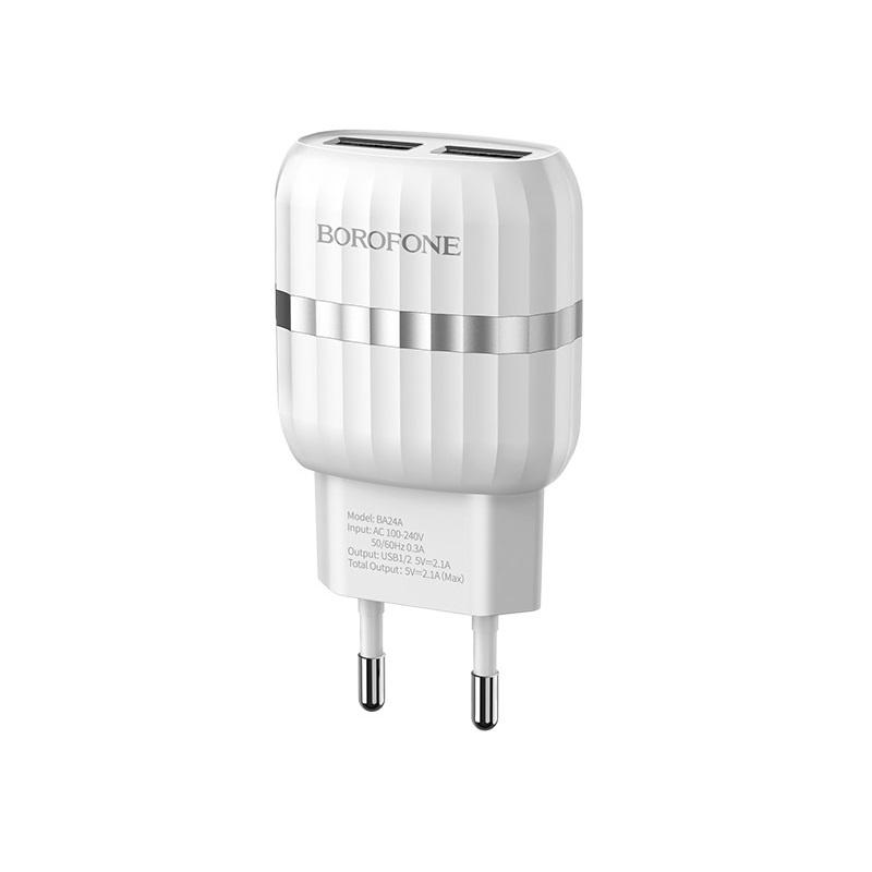 Сетевое зарядное устройство Borofone BA24A Vigour dual port charger (EU) White цена