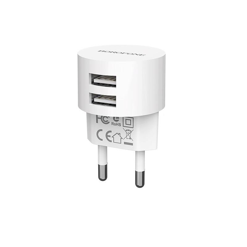 Сетевое зарядное устройство Borofone BA23A Brilliant dual port charger set (Micro) (EU) White все цены