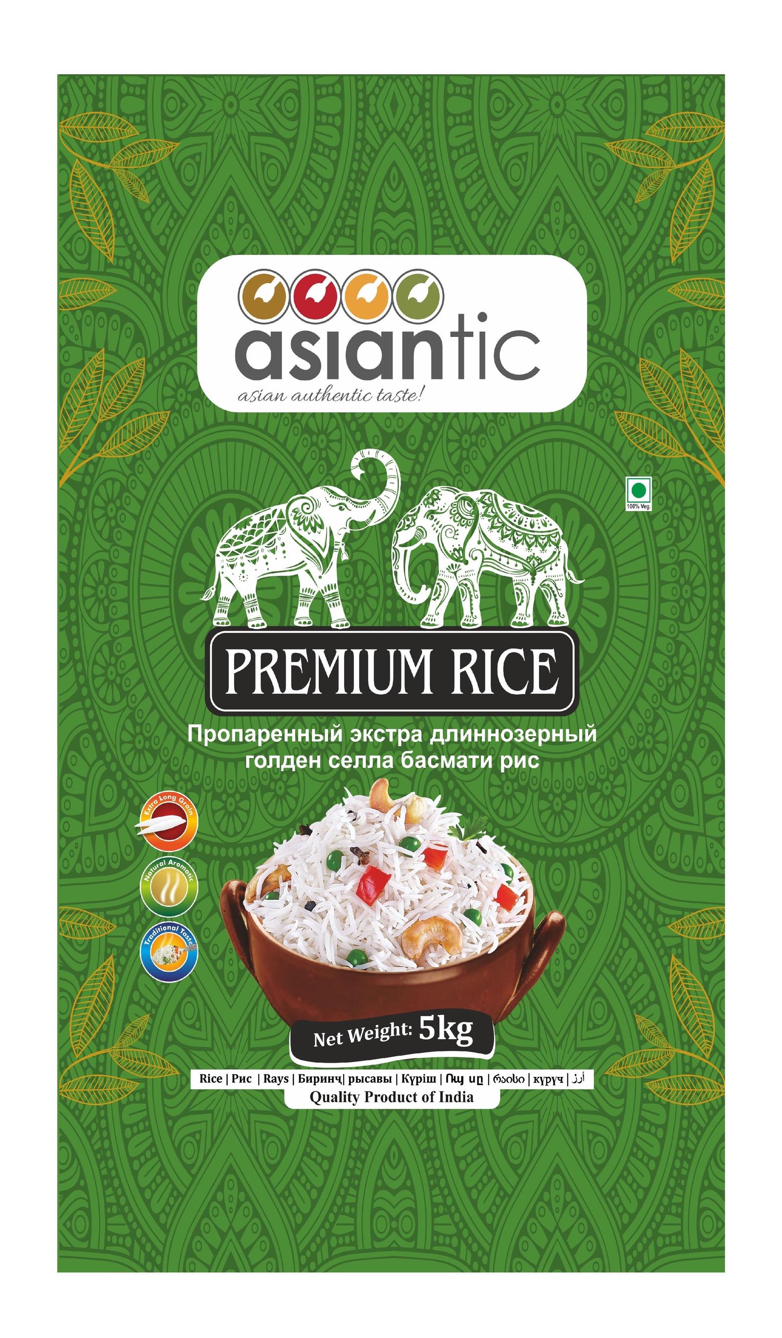 Asiantic - пропаренный длиннозерный голден селла басмати рис, 5кг