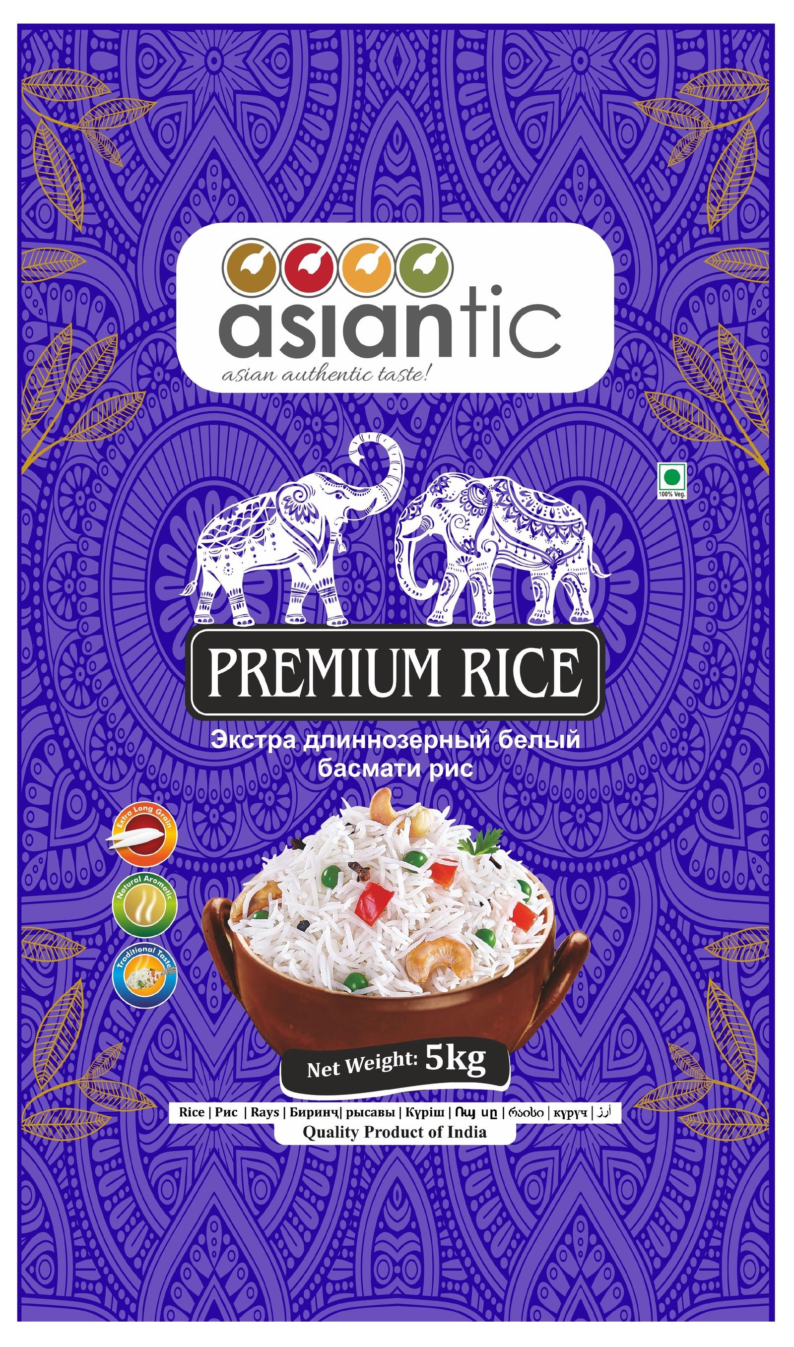 Asiantic - экстра длиннозерный белый басмати рис, 5 кг