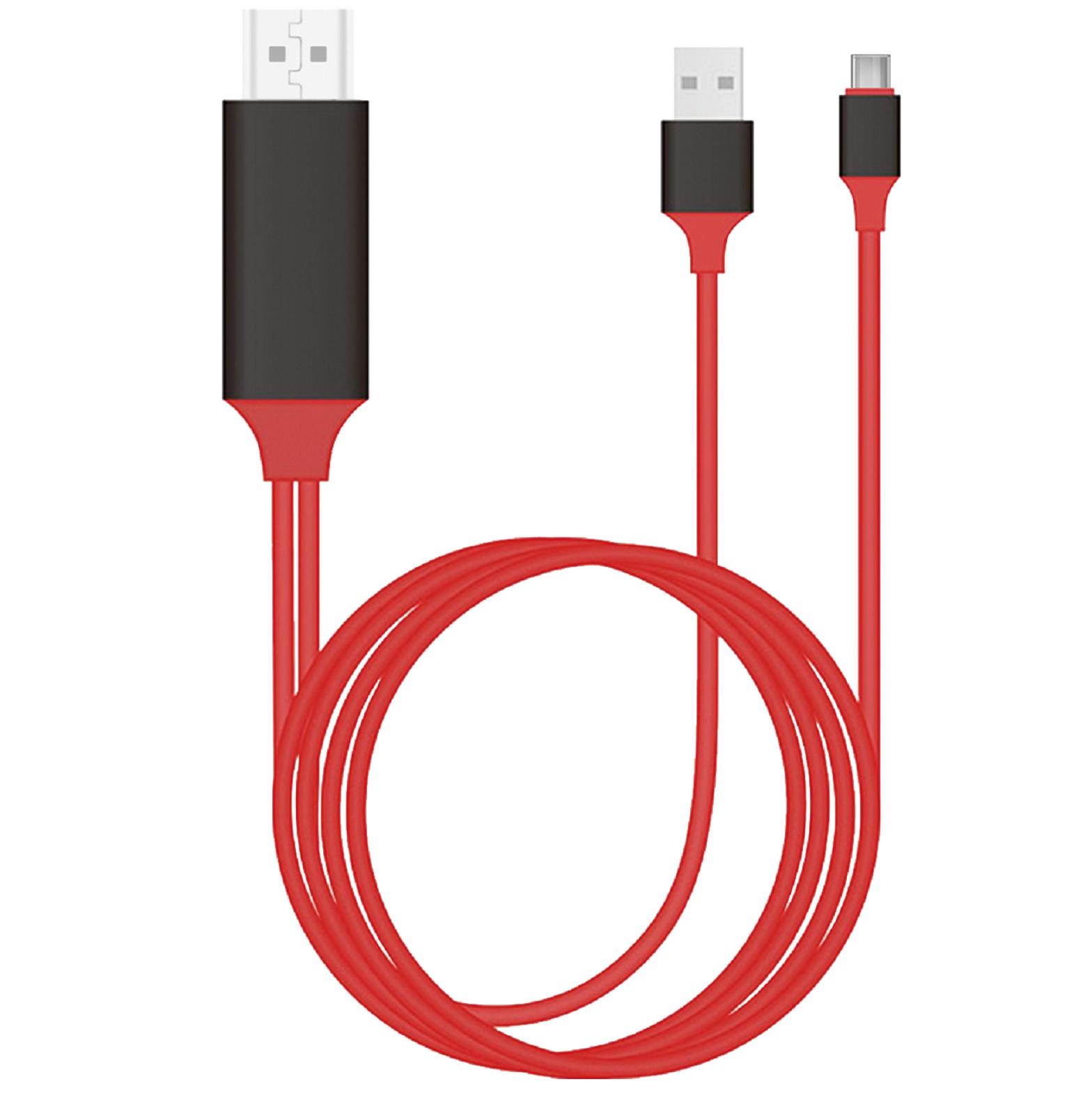 Кабель-переходник Type-C to HDMI 4K HDTV Plug & Play, 2.0 м, красный