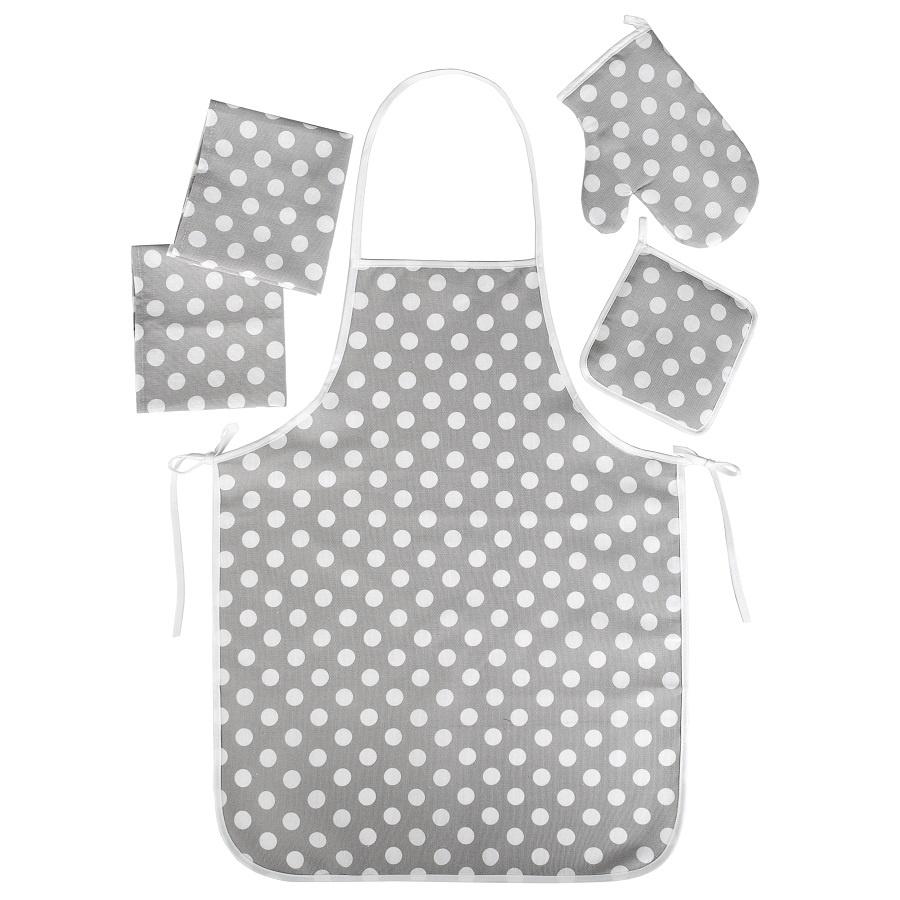 Набор для кухни ТК Традиция Ассорти 5 предметов (рукавичка-прихватка, прихватка, фартук, полотенце - 2 шт.), 1307, Горошек серый
