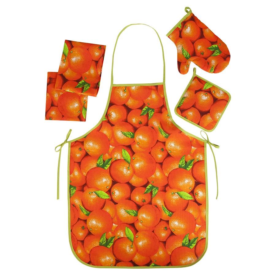 Набор для кухни ТК Традиция Ассорти 5 предметов (рукавичка-прихватка, прихватка, фартук, полотенце - 2 шт.), 1307, Апельсины