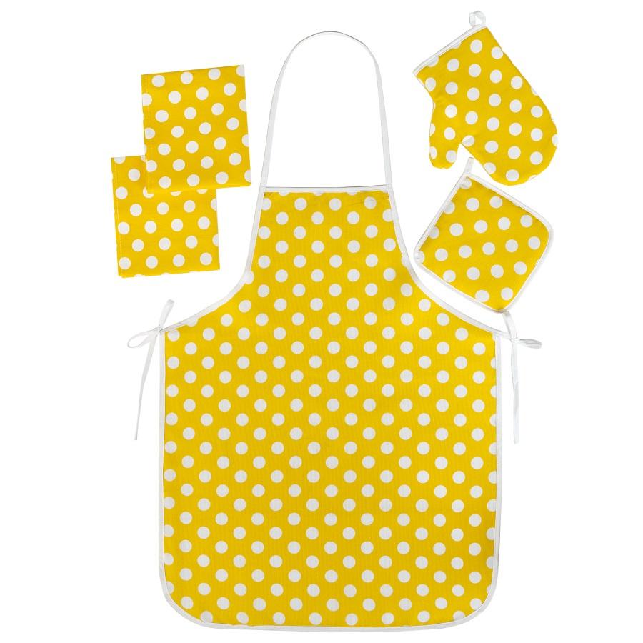 Набор для кухни ТК Традиция Ассорти 5 предметов (рукавичка-прихватка, прихватка, фартук, полотенце - 2 шт.), 1307, Горошек желтый