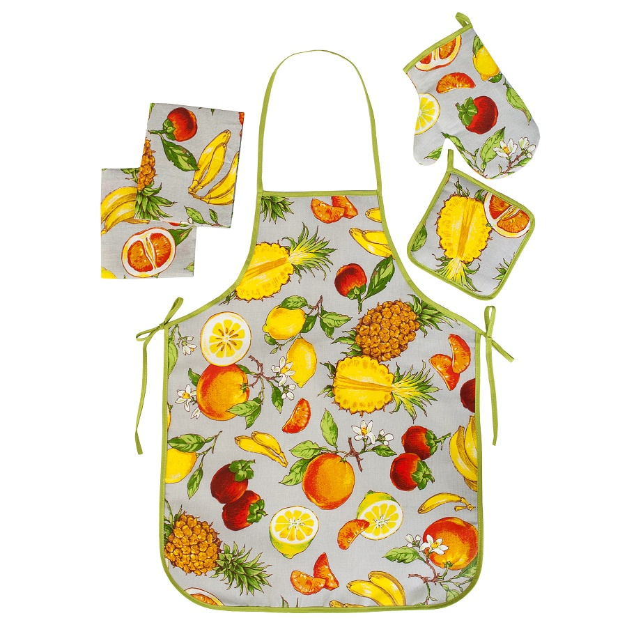 Набор для кухни ТК Традиция Ассорти 5 предметов (рукавичка-прихватка, прихватка, фартук, полотенце - 2 шт.), 1307, Экзотика