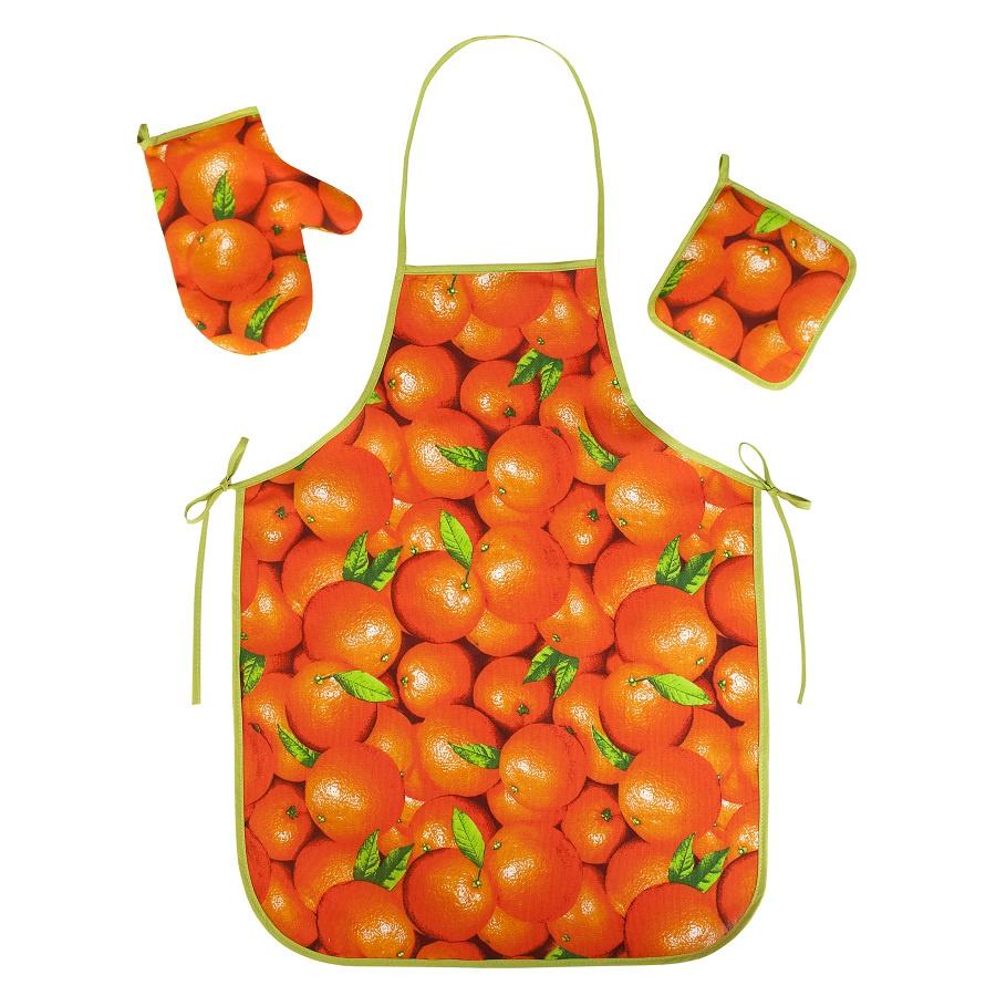 Набор для кухни ТК Традиция Ассорти 3 предмета(рукавичка-прихватка, прихватка, фартук), 1308, Апельсины