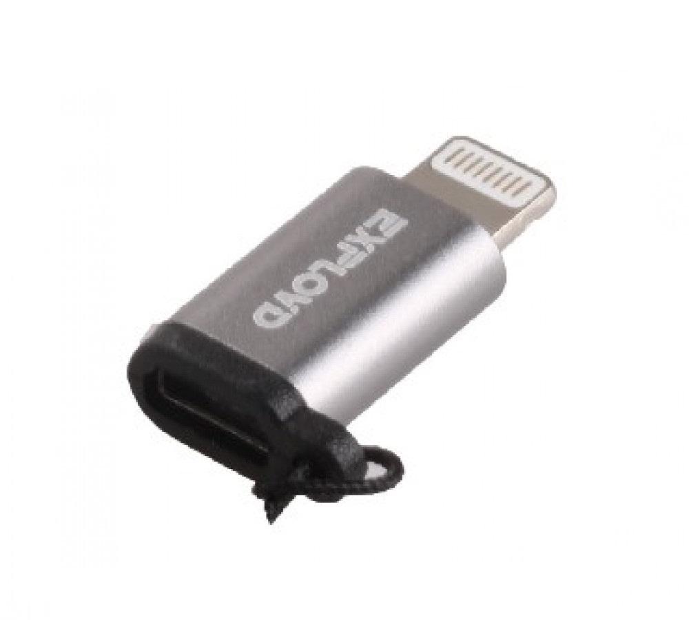 Переходник Apple Lightning - micro USB, Exployd EX-AD-273, серебристый переходник для ipad iphone lightning to micro usb адаптер apple md820