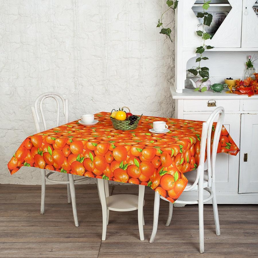 Скатерть прямоугольная рогожка 145x145 см ТК Традиция, Апельсины
