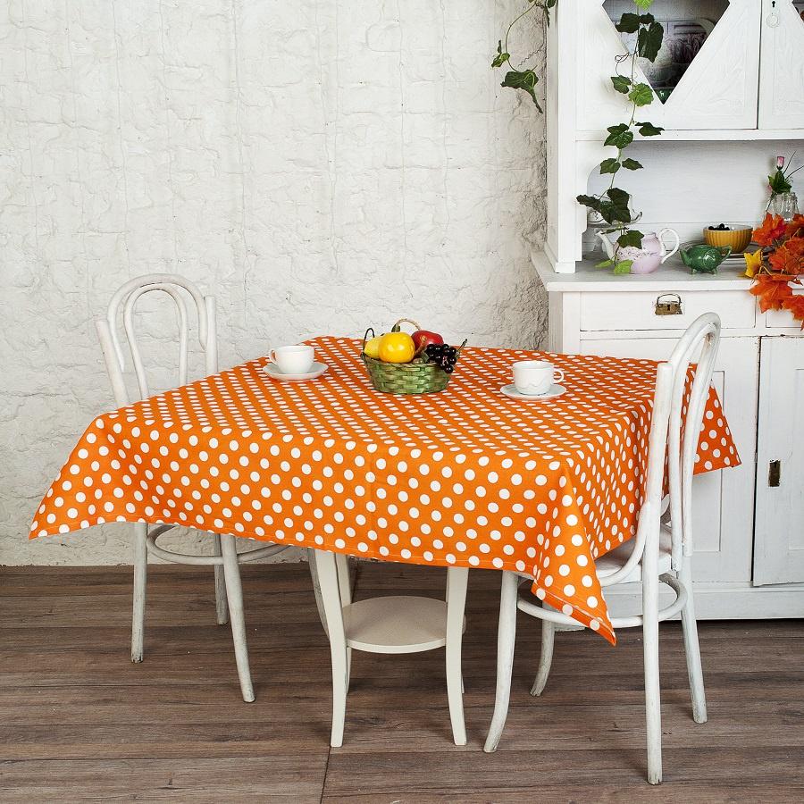 Скатерть прямоугольная рогожка 145x145 см ТК Традиция, Горошек оранжевый