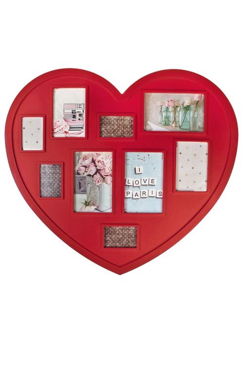 Рамка для 9-ти фото Сердце, 53х48см, фото 10х15см, 9х13см, 5х8см, пластмасса, красная рамка для 5 ти фото мечта