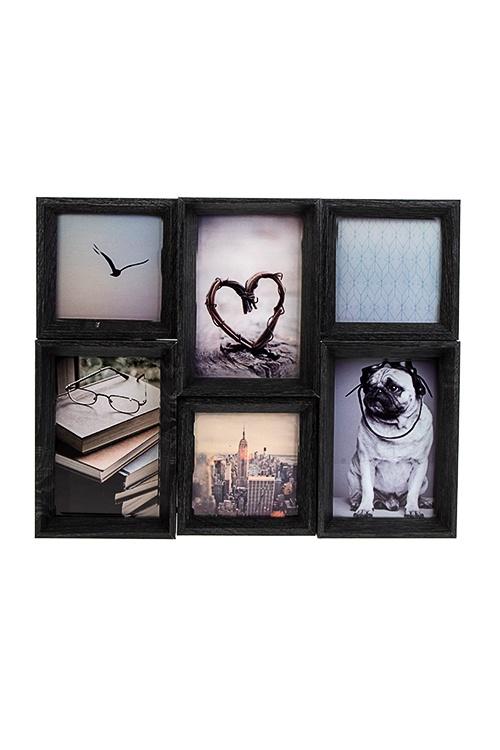 Рамка для 6-ти фото Любимые моменты, 37х30см, фото 10х10см, 10х15см, МДФ, черная рамка для 5 ти фото мечта