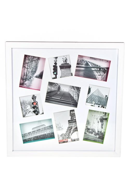 Рамка для 9-ти фото Мои путешествия, 50х50см, фото 10х15см, МДФ, белая рамка для 5 ти фото мечта