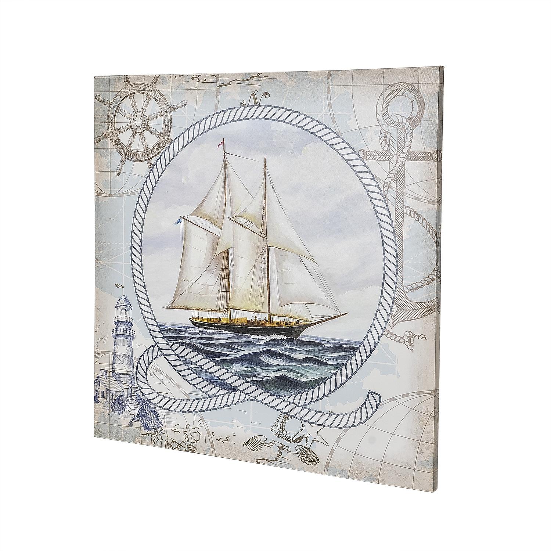 Постер на раме Парусник, морской стиль, 60х60 см, Холст, Дерево все цены