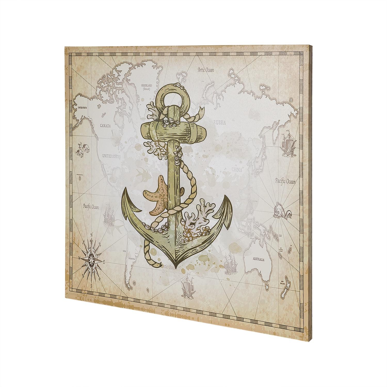 Постер на раме Якорь, морской стиль, 60х60 с, Холст, Дерево все цены