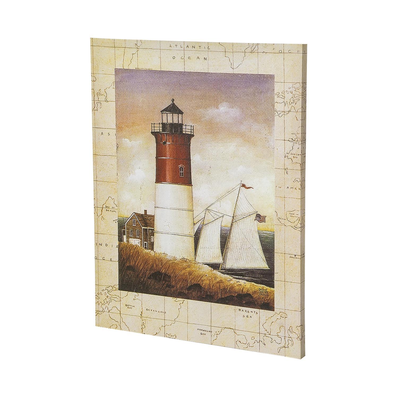 Постер на раме Маяк, морской стиль, 40х50 см, Холст, Дерево все цены