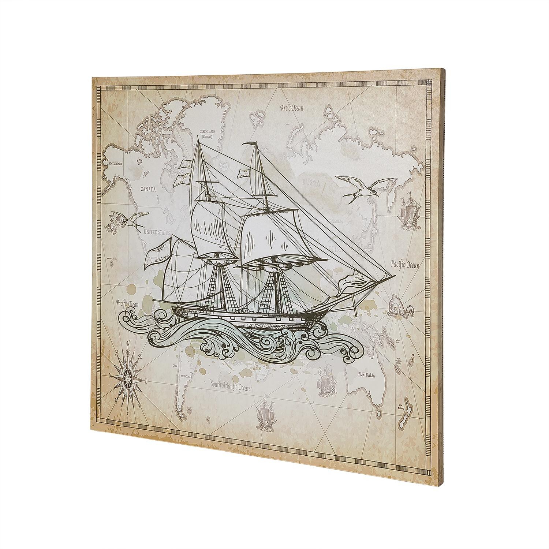 Постер на раме Парусник, морской стиль, 60х60 с, Холст, Дерево все цены