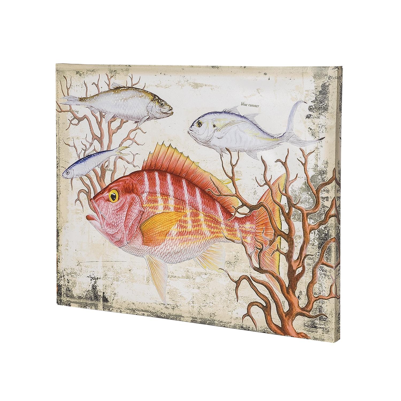 Постер на раме Рыба, морской стиль, 40х50 с, Холст, Дерево все цены