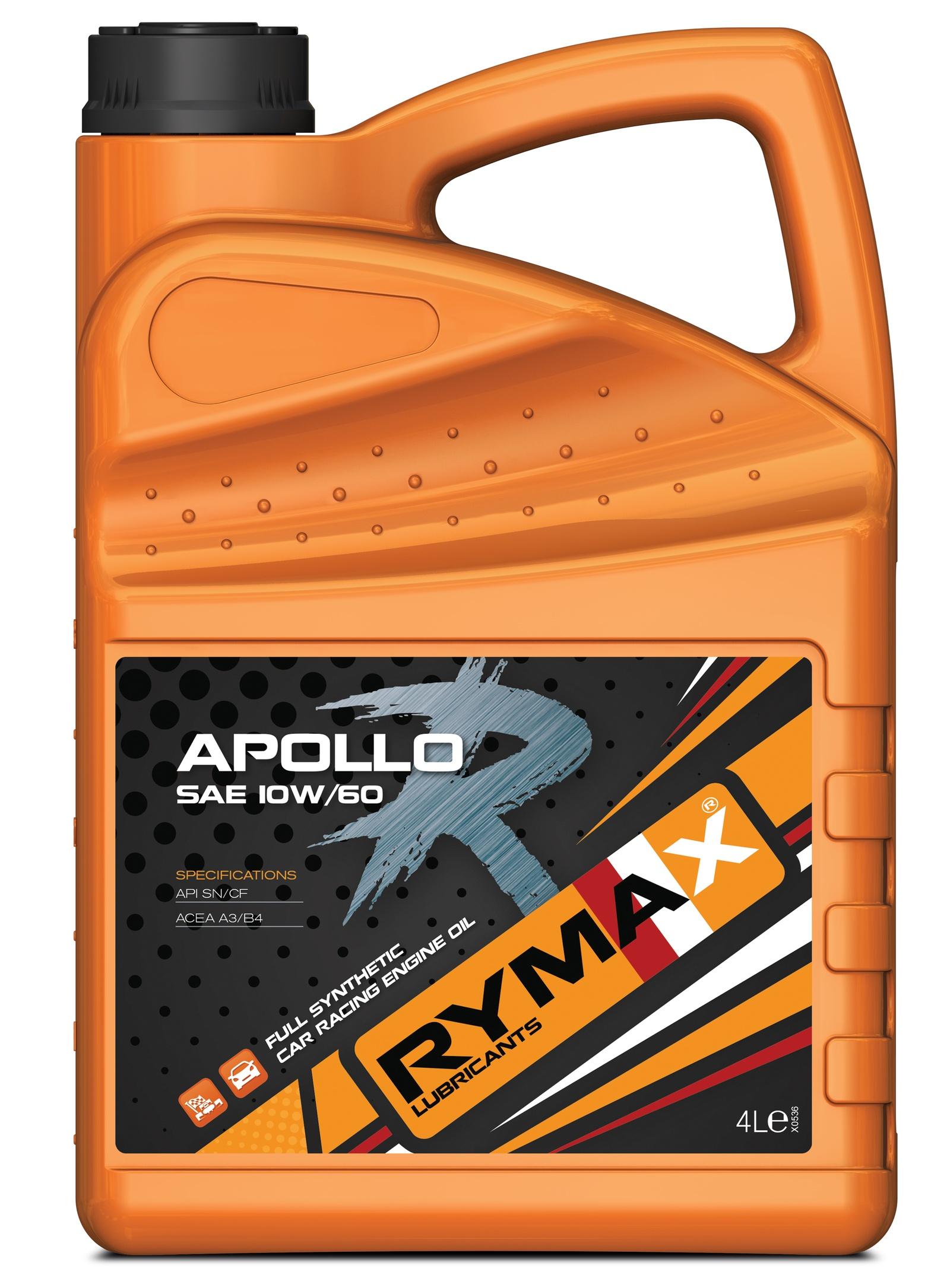 Моторное масло Rymax Apollo R SAE 10W-60, API SN/CF, ACEA A3/B4, спортивное на основе ПАО, 4 л