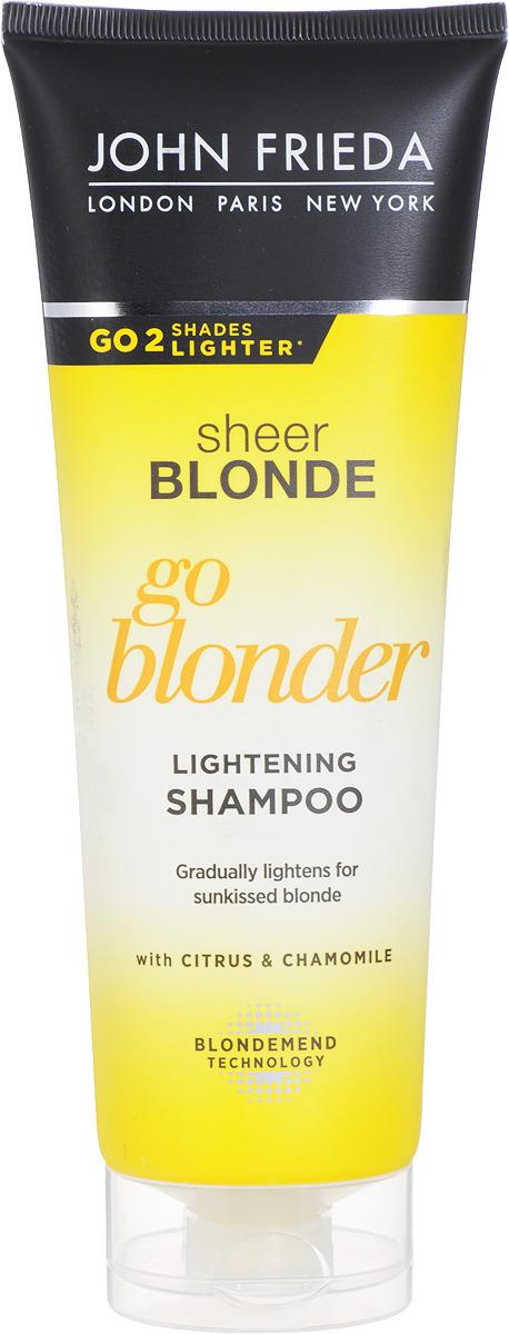 John Frieda Шампунь осветляющий для натуральных, мелированных и окрашенных волос Sheer Blonde Go Blonder 250 мл john frieda sheer blonde шампунь овсетляющий для натуральных мелированных и окрашенных светлых волос 250 мл