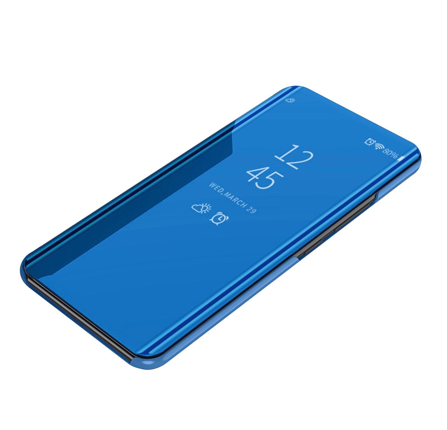 Чехол-книжка MyPads для Vivo NEX / Vivo Nex S 8/256GB умный активный с функцией включения и блокировки экрана полупрозрачный с зеркальной поверхностью синий