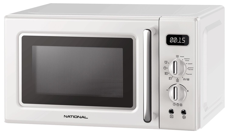Микроволновая печь NATIONAL 20 л, 700 Вт, с электронно-механическим управлением, 8 авто программ, таймер, ретро-серия