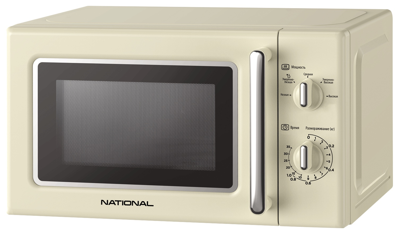 Микроволновая печь NATIONAL 20 л, 700 Вт, ретро серия, с таймером и авто разморозкой